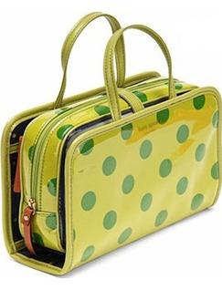 凯特·丝蓓黄底绿点化妆包
