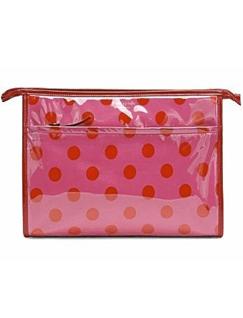 凯特·丝蓓玫红色圆点图案化妆包