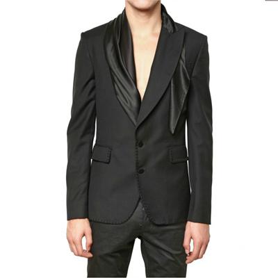 John Galliano 男士绸缎围巾领西装夹克