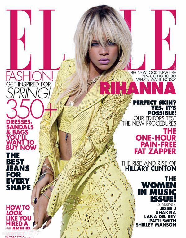 蕾哈娜登《ELLE》封面 性感出镜狂野魅力