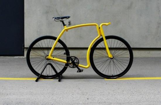 流线造型不锈钢死飞自行车图片