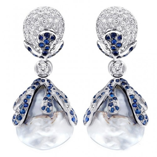 蓝宝石巴洛克珍珠耳环