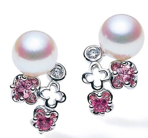 mikimoto 珍珠彩宝耳钉