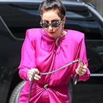 Gaga出街带爱犬 粉红长裙现身