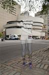 纽约艺术家在建筑前的隐身艺术